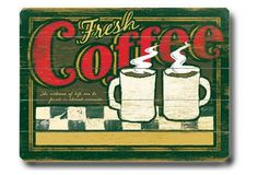 Fresh Coffee Wood Sign