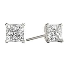 10 Pair Set Sterling Silver Cubic Zirconia Square Emerald Earrings Studs 4 mm Princess cut Green Color 3//4 carat//pair