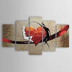 pinturas a óleo conjunto de cinco modernas telas pintadas à mão coração amantes do abstrato pronto para pendurar – BRL R$ 341,97