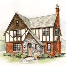 As part of the Cottage Revival, returning WWI veterans brought home visions of picturesque European cottages, including the old English Tudor. Its steep roof, dark stained half timbering which gives it its distin Tudor Cottage, Storybook Cottage, Cottage House Plans, Cottage Homes, Cottage Style, Tudor House Exterior, Cottage Exterior, Stone Exterior, Exterior Paint