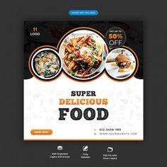 Food menu and restaurant social media ba...   Premium Psd #Freepik #psd #banner #food #business #menu Food Menu Design, Food Poster Design, Typography Poster Design, Social Media Banner, Social Media Design, Graphic Design Flyer, Food Banner, Food Concept, Photoshop Design