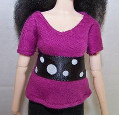 Pullip clothes - purple t-shirt with black with white polka-dots ribbon trim by FabriMagoDolls on Etsy