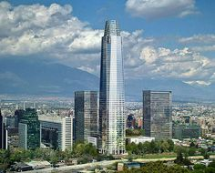 Chile's Green Building Council named it recently the greenest building project in the country, and it will also feature the tallest tower floors, 300 meters high). Costanera Center, a major architecture developing in Santiago First Class Airline, How To Fly Cheap, Shopping Places, South America, Latin America, San Francisco Skyline, Vacation, World, Flight Tickets