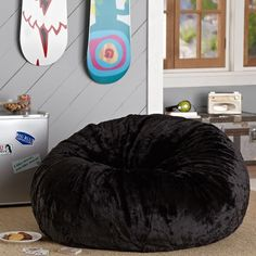 PB Teen Black Luxe Fur Beanbag Slipcover, Small at Pottery Barn Teen -... ($65) ❤ liked on Polyvore featuring home, furniture, chairs, accent chairs, black, pbteen, plush chair, round chair, black bean bag chair and bean-bag chair