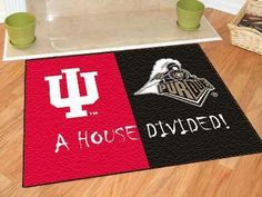 Indiana Hoosiers / Purdue Boilermakers House Divided NCAA All-Star Floor Mat Entry Mats, College House, House Divided, Custom Mats, Indiana University, Gift Finder, Shop Usa, Welcome Mats, Floor Mats