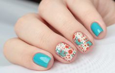 Blue nail art with extraordinary stickers :: one1lady.com :: #nail #nails #nailart #manicure
