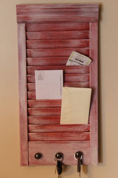 Repurposed Shutter Into Key and Mail Holder by VintageWoodenShoe