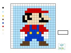 Super Mario Brothers QAL - Mario Other decals also here Mario Crochet, Graph Crochet, Pixel Crochet, Embroidery Patterns, Cross Stitch Patterns, Quilt Patterns, Block Patterns, Super Mario Brothers, Super Mario Bros