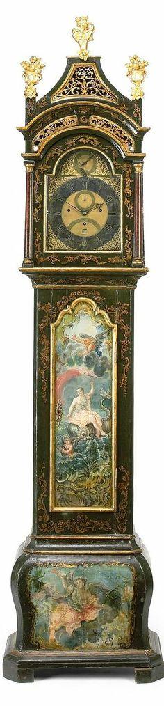 Musical Tall Case Clock, parcel gilt paint decorated musical Tall Case Clock by Percival Mann 2nd half of 18th century height 103 aka 262cm
