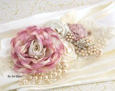 Tan Sash Sash Blush Pink Pearl Sash Lace Sash Wedding by SolBijou