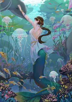Sirènes / Mermaids / Creature of the ocean / Fantasy art Pictures Anime Mermaid, Siren Mermaid, Mermaid Tale, Tattoo Mermaid, Mermaid Mermaid, Vintage Mermaid, Mermaid Princess, Mermaid Artwork, Mermaid Drawings