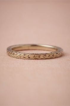 $700 Wild Emmer Ring - BHLDN    A slender blade of plaited wheat is etched on a round of gold from the 1930s. Vintage. 2mm wide. 14k white gold. Handmade.