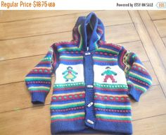 Sale Size 4 5 6 OTAVALO  girl Boy Stripe hooded by LittleMarin