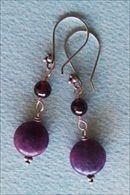 Handmade earrings, sugilite and rhodolite garnet