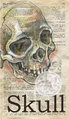 Druck: Skull-Gemischte Medien Zeichnung auf antike Wörterbuch-Seite