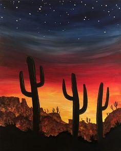 Check out Desert Sunset VI at Average Joe's - Hilliard - Paint Nite Desert Art, Desert Sunset, Sunset Art, Easy Canvas Art, Abstract Canvas Art, Acrylic Painting Canvas, Beto Jamaica, Sunset Painting Easy, Southwestern Art