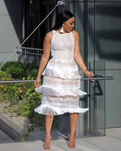 The Angel Set is such a fun statement look of a crochet lace blouse paired with a beautiful crochet lace and fringe skirt. You can also wear this. All White Party Outfits, All White Outfit, Outfits With Hats, White Dress, Big Girl Fashion, Fashion Looks, Women's Fashion, African Print Fashion, African Prints