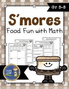 S'mores Food Fun with Math Packet allows you to give your kids a treat and some math problems. This packet includes 5 pages of activities (a decorated and plain version are included) to use with a s'mores food mix and answer keys for page 2 and 3. The activities can be completed individually, in pairs, or in small groups. You can set these up as stations, use whole class, or use for early finishers. This is a great math activity for the end of the year! $ gr 5-8