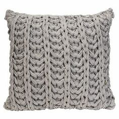 "Crocheted cotton pillow in grey.       Product: PillowConstruction Material: CottonColor: GreyFeatures: Insert includedDimensions: 18"" x 18"""