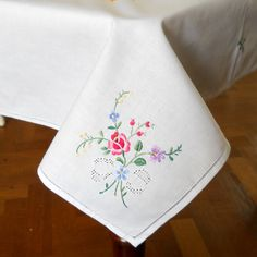 Vintage Embroidered Tablecloth Vintage White Tablecloth Floral Tablecloth  Multicolor Shabby Chic