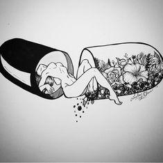 Ink drawing tattoo style inside a pill Tattoo Sketches, Tattoo Drawings, Art Sketches, Art Drawings, Japanese Tattoo Art, Tattoo Project, Dope Art, Picture Tattoos, Female Art