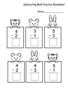 Subtracting Math Practice Worksheet - Free Kindergarten Math Worksheet for Kids Subtraction Kindergarten, Kindergarten Addition Worksheets, Subtraction Worksheets, Preschool Math, Kindergarten Worksheets, Seasons Kindergarten, Kindergarten Learning, Math Practice Worksheets, Seasons Worksheets
