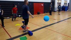 Baseball with a large ball and bat. Gopher Sports, Physical Education, Physics, Coaching, Basketball Court, Baseball, Games, Training, Baseball Promposals