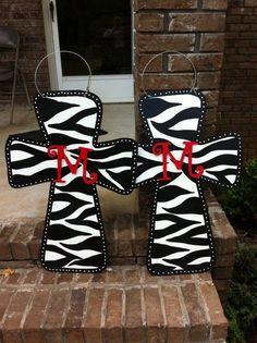 Zebra Print Cross Door Hanger Personalized. $25.00, via Etsy.