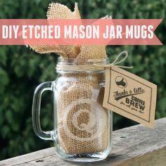 Saturday Crafternoons: DIY Etched Mason Jar Mugs