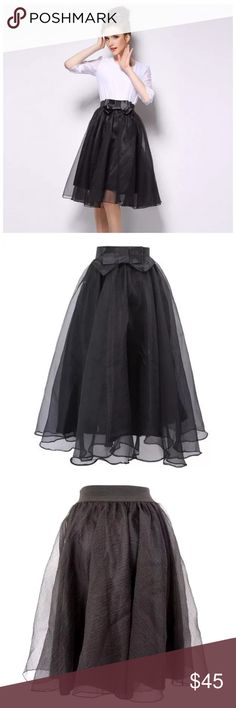 """Black Tulle Organza Bow Stretch Full Midi Skirt ‼️PRICE FIRM‼️   Organza Swing Skirt Size One Size  SPECTACULAR! Words can not describe how beautiful this skirt is. One size, waistband stretches to fit your waist. 100% polyester lining with a spandex elastic waistband. Outside layer is organza. Please check my closet for many more items including designer clothing, scarves, jewelry, handbags, shoes & much more.  Waist up to 36""""  Length 28"""" Boutique Skirts"""