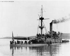 USS MONADNOCK (BM-3) Amphitrite Class Monitor is seen off Mare Island Navy Yard, CA, June 1898