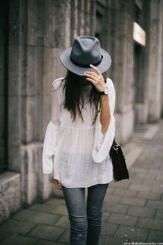 casual day out outfit | short rim gray hat | loose white blouse | shoulder bags | denim | outfits | long brunette