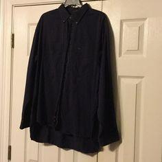 Men's Dress shirt Navy blue lines long sleeve Colours Shirts Casual Button Down Shirts