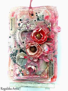 "Spring card using Scraps Of Elegance ""Anna's Daydream"" kit. 7 Dots Studio's Thoughts Keeper"