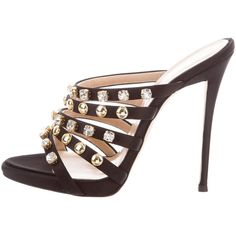 Pre-owned Giuseppe Zanotti Ana Embellished Sandals ($345) ❤ liked on Polyvore featuring shoes, sandals, black, satin shoes, black jeweled sandals, embellished shoes, jeweled sandals and black sandals