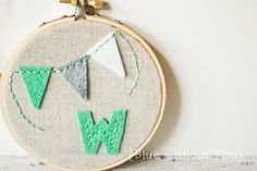 Child's Hoop Art with Customizable Felt Color and Fabric - Felt Initial and Bunting on Linen - Green and Gray, $20
