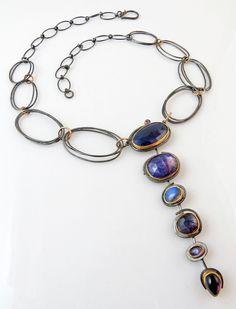 Indigo necklace   Sydney Lynch    Faceted & rose-cut sapphires, tanzanite, labradorite, iolite, 18k & 22k gold, oxidized silver.