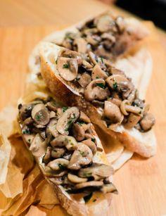 Bruschetta, toasted ciabatta topped with sauteed mushrooms and ricotta cheese at Fatto A Mano, Bangsar.