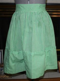Vintage Green and White Gingham Half Apron by ilovevintagestuff