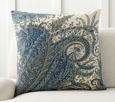 """Ellis Paisley Reversible Pillow Cover   Pottery Barn 24"""" pillow - too large  $39"""