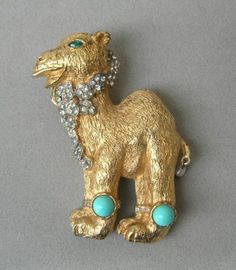 """Early Kenneth Lane Signed K J L Camel Pin w Faux Turquoise 3"""" 