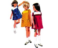 60s Toddlers A Line Shift Dress Pattern by allthepreciousthings