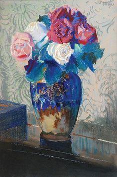 The Athenaeum - Roses (Leon Jan Wyczolkowski - ) Flower Vases, Flower Art, Art Flowers, Still Life Flowers, Painter Artist, Palette Knife Painting, Garden Painting, Jaba, Pretty Pictures