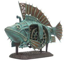 Vladimir Gvozdev Surreal steampunk - Beauty will save Chat Steampunk, Design Steampunk, Steampunk Robots, Steampunk Animals, Arte Steampunk, Style Steampunk, Steampunk Dolls, Steampunk Clock, Sculpture Metal
