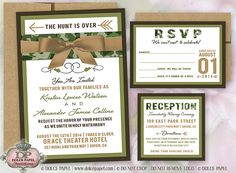 Modern Hunter Camo Wedding Invitations 5x7 with Belly Band and Ribbon by www.DolcePapel.com