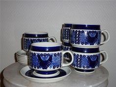 6ST VACKRA TEKOPPAR - ARABIA - SINILIUTU  FELFRIA! Porcelain Ceramics, Teacups, Finland, Ceramic Art, China