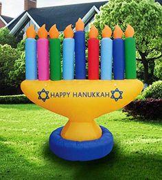 Huray Rayho Hanukkah Yard with Stakes Happy Hanukkah Yard Decorations Winter Holiday Outdoor Lawn Decor Menorah Gardens Yard Ornaments Cutouts Chanukah Themed Party Backdrop Signs Supplies Set of 9