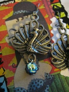 Steampunk Rainbow Peacock Earrings by jansbeads on Etsy