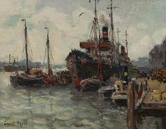 Rotterdams havengezicht by Evert Moll (1878 - 1955)