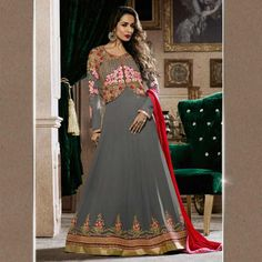 e986d1e91e4 Georgette Grey Semi Stitched Embroidered Bollywood Style Suit